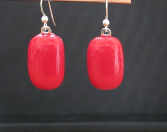 Handmade Red and Elegant Fused Glass Earring