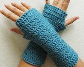Mittens - Wrist Warmer - Fingerless Gloves - Arm Warmers - Blue