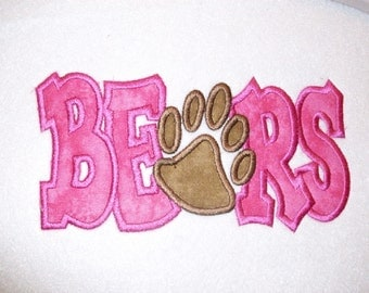 Bears with Paw Print Digital Embroidery Machine Applique Design 10592