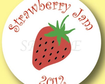 Strawberry Canning Jar Labels, Set of 20 Stickers
