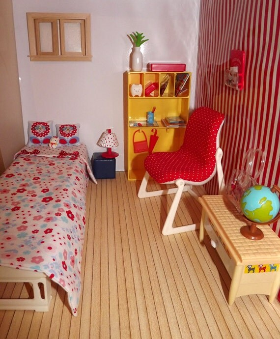 Cute Diorama Red Bedroom for Blythe, Pullip, Littlefée dolls, 1/6 scale