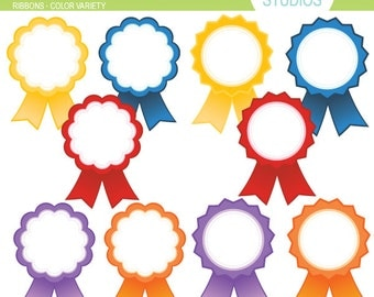 Award Ribbons - Color Variety - Clip Art Set Digital Elements for Cards, Stationery and Paper Crafts and Products