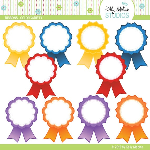 honorable mention certificate template - award ribbons color variety clip art set digital elements