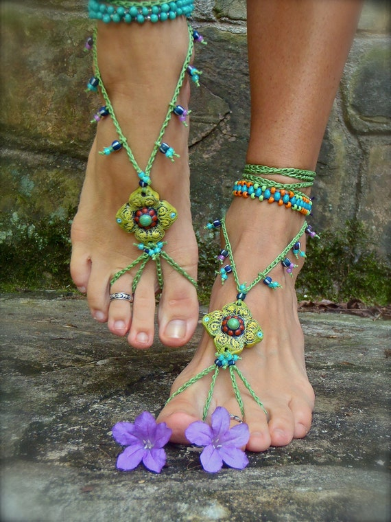 PISTACHIO BAREFOOT sandals green SANDALS crochet beaded beach wedding bohemian gypsy shoes photo shoot props made to order