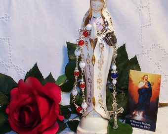 Unbreakable One-Decade Our Lady of the Americas Catholic Rosary - Red, White and Blue Rosary - USA Patriotic Rosary