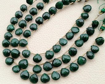 8 Inch Full Strand, AAA Quality Unique NATURAL Green Emerald Faceted Heart Shape Briolette, 8-9mm,Great Value Item