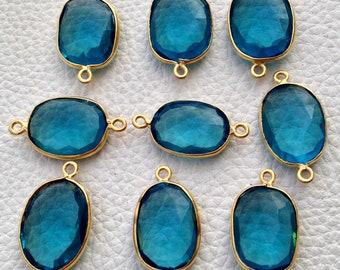 925 Sterling Silver, LONDON BLUE Quartz, 24K Gold Plated Connector,ONE Piece of 17-18mm,Wholesale Price