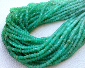 10 Strands, SPECIAL PACK,Brand New, Shaded CHRYSOPRASE Faceted Rondelles,Full 14 Inch Strand, 4mm size,Amazing Quality Wholesale Price.