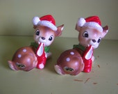 pair of 2 Josef Originals Christmas deer figurines with Santa hats and stockings - Japan