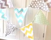 Banner, Bunting, 11 Fabric Flags, 5 Feet, Birthday Party Banner, Photo Prop, Mint Polka Dot, Aqua, Grey, Yellow Chevron, Boy Baby Shower