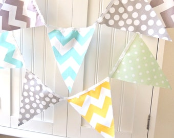 Banner, Bunting, 11 Fabric Flags, 5 Feet, Birthday Party Banner, Photo Prop, Mint Polka Dot, Aqua, Grey, Yellow Chevron, Boy Baby Shower