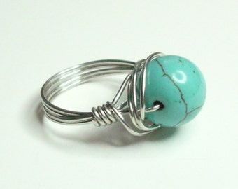 Silver Ring Turquoise Silver Plate Handmade Wire Wrapped Ring Sizes 1-14