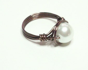 White Pearl Vintage Bronze Handmade Wire Wrapped Ring Sizes 1-14