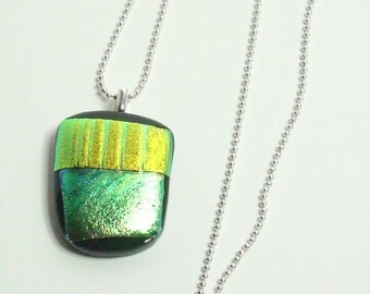 Green Yellow Dichroic Fused Glass Handmade Pendant Necklace