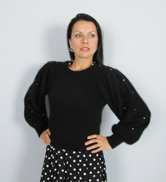 Vintage Black ANGORA Lambswool Sweater