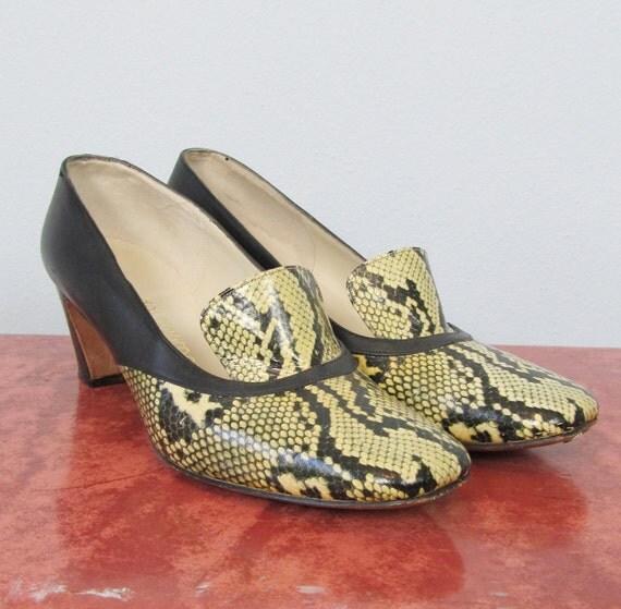 Vintage 1950's Faux Reptile Mad Men Heels - Size 7