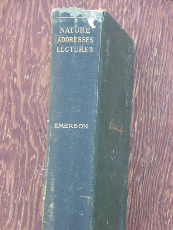 Antique Book, Ralph Waldo Emerson, Complete Works, Nature Lectures 1903, Green hardback