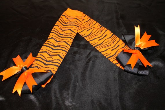 Tiger Bow Leg Warmers--Orange and Black Zebra--Super cute and funky for Halloween