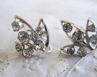 Vintage Silver Tone Rhinestone Screw Back Earrings