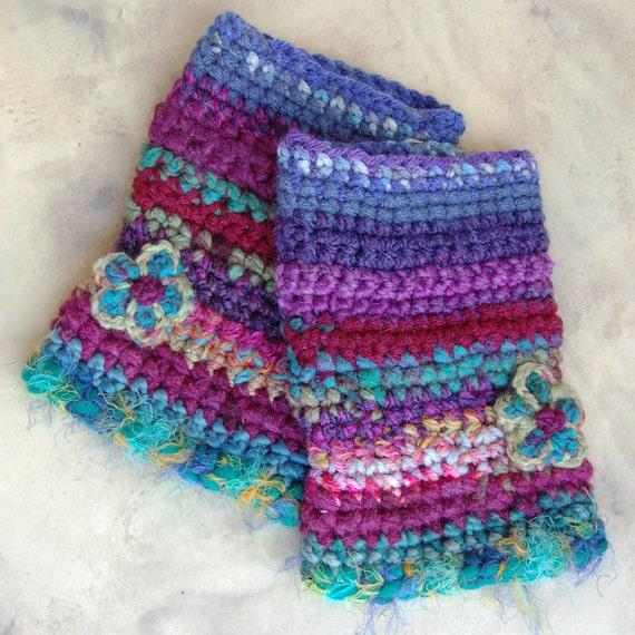 Colorful Crochet Wrist Warmers - Fingerless Gloves