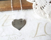YOU and ME handstamped heart id tag necklace (sterling silver) Last One