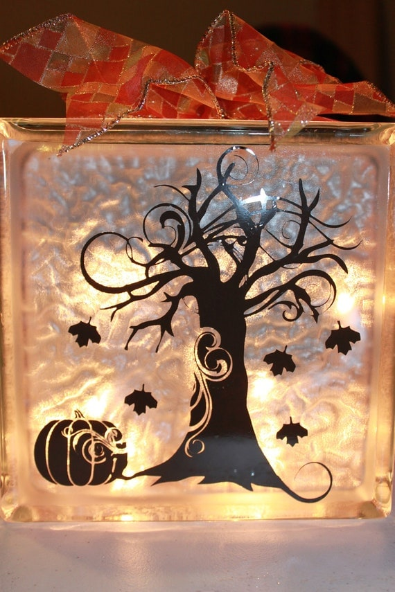 Fall decor glass block with vinyl and lights for Clear glass blocks for crafts