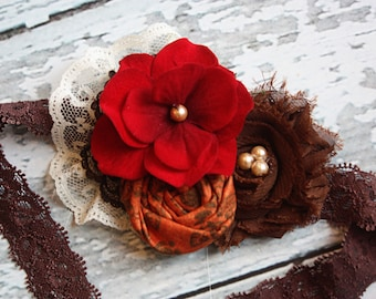 Thankfulness- Crimson, ivory, brown and orange rosette fall inspired headband with lace