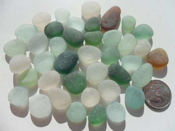40 Jewellery Pieces - Beautiful English Sea Glass - Free Shipping (2068)