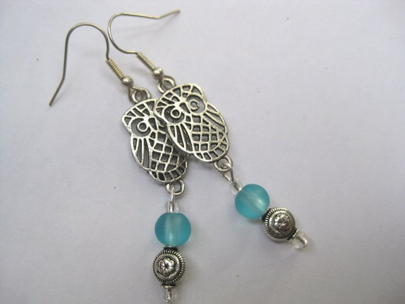 WIZARD OWL EARRINGS - Antique Silver - Blue Glass Beads - Dangle Earrings - By FerryCreekVintage