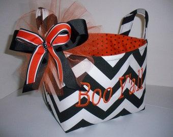 Chervon / Zig Zag Halloween Trick or Treat Fabric Basket / Bucket