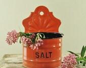 Vintage Enamel Salt Box  -Large Primitive Pink Metal Enamelware- Industrial French Farmhouse Fresh