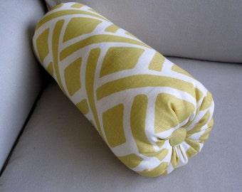 LINEN BOLSTER pillow  yellow ivory  6x14 6x18 6x20 6x22
