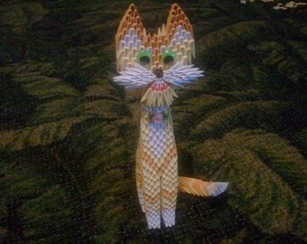 3d origami Yellow Cat  KIT