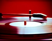 Record Player Photo - Red - Retro - Still Life Photo - 5 x 7 Fine Art Photograph- Hipster Art - Audiophile - Squintphotography