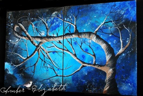 Large Original Painting Blue Serenity 32 x 20 Acrylic on Canvas Art Amber Elizabeth Lamoreaux Tree Branches Blue Night Sky Modern Surreal