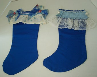 Vtg Pair Cobalt Blue Ruffled Lace Cuff Stocking Sheer Floral Fabric Bow Hanging Decoration Mantel Display Decorative Holiday Year Round Gift