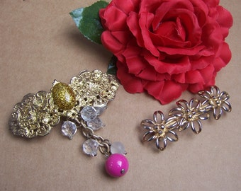 Vintage hair barrettes 2 fancy goldtone metal hair accessories hair slide hair clip hair comb hair jewelry hair ornament headdress1980s