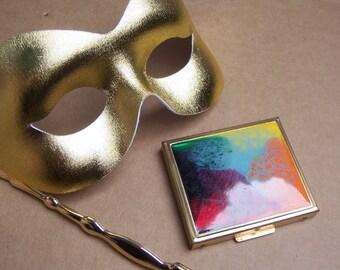Vintage powder compact purse compact enamel compact poured paint effect Mad Men era 1960s (AAO) R