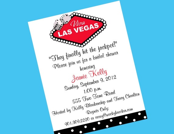 10 Las Vegas Bridal Shower Invitations OR Printable DIY U Print