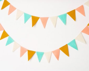 Mini Felt Bunting Garland (aqua, mustard, peach, cream)