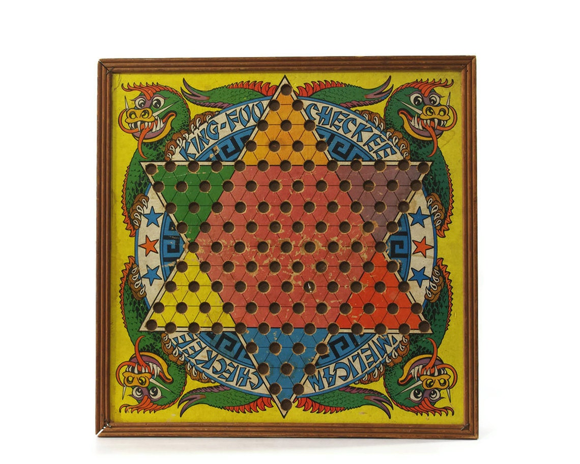 Vintage Chinese Checkers Game Board Two Sided By Gizmoandhooha
