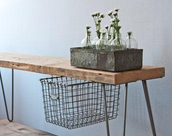 "Reclaimed Wood Bench w/ sliding basket drawer and Hairpin legs (36""L x 11.5""w x 18"" h and 1.65"" Standard Top) Ships Fast"