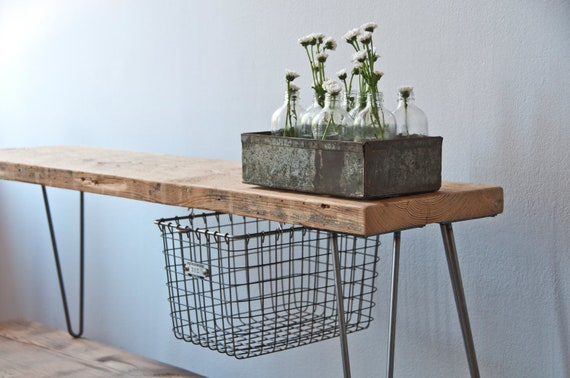 "For Chelsea: Reclaimed Wood Bench w/ sliding Locker Basket/ Hairpin Legs, 1.65"" Standard Top, 36 ft x 11.5"" x 18"" h"