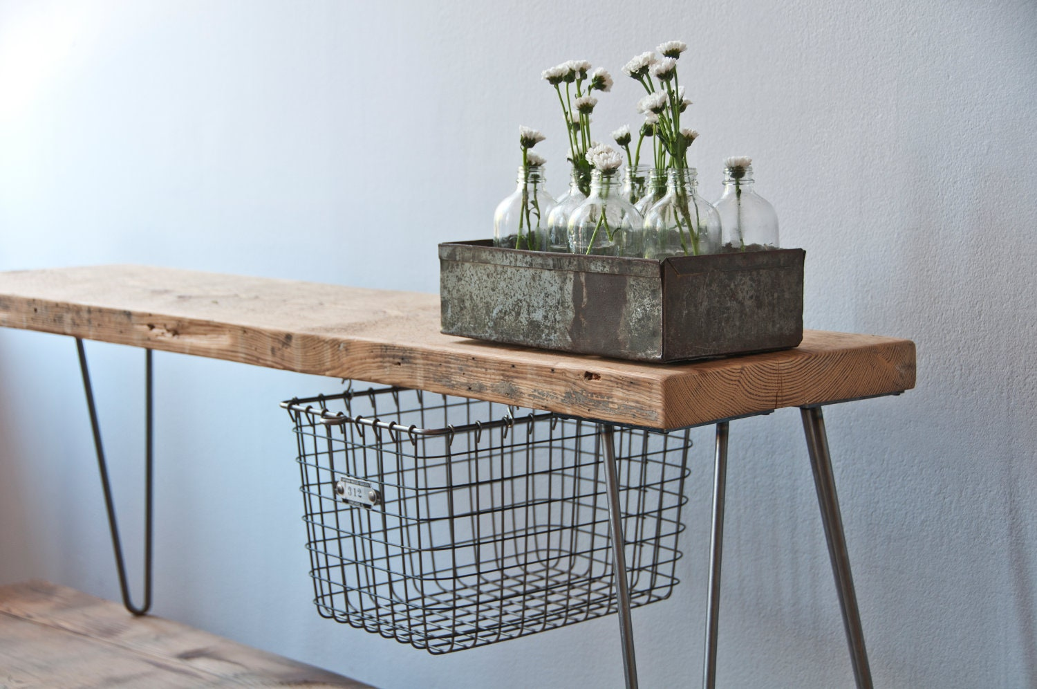 Reclaimed Wood Bench W Sliding Basket Drawer And Hairpin Legs