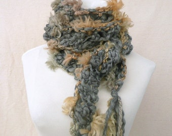 Faux fur hand knitted skinny scarf in and tan with faux fur and tassels Unique winter scarf fashion