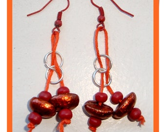 SWEET TANGERINE - HaNdMaDe EaRRiNgS WiTh ReaL CoFFee BeAnS