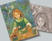 ACEO/ATC Mini Fine Art Print The bookbinder   -  Little Girl Soft Green Artist Card Postcard  Artist Card Postcard