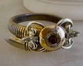 Edwardian Coiled Snake Chain Bracelet with Bow Center