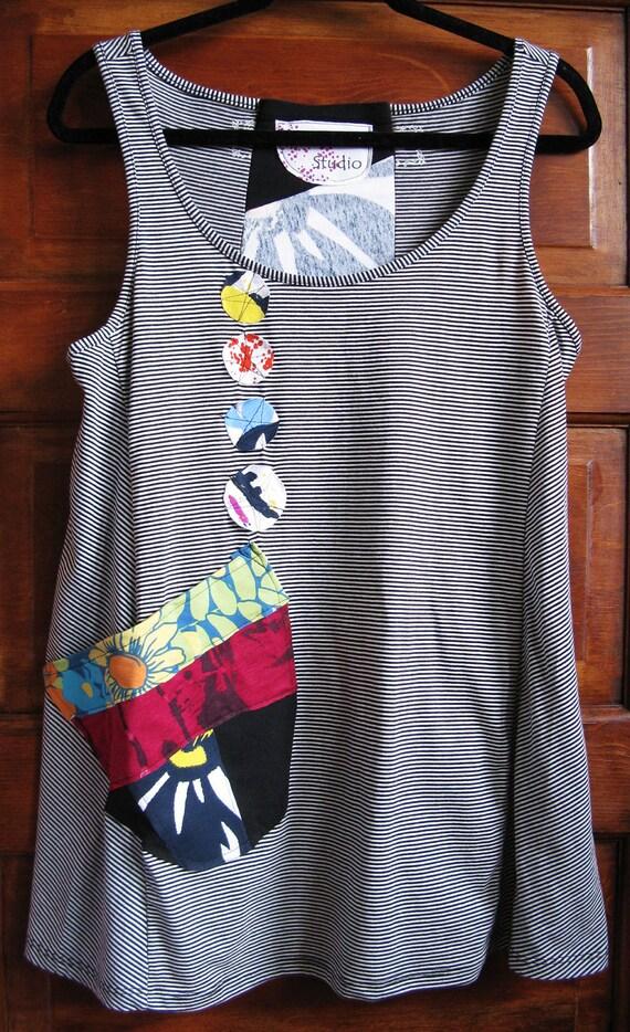 X Large Sleeveless Tunic / Reconstructed Tunic / Eco Fashion / MaiseStudio