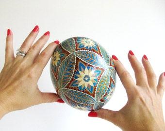 Mother of the bride gift Ostrich shell hand painted batik dyed egg Christmas gift Ukrainian batik art